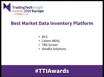 radingTech Insight Awards 2020 Europe Best Market Data Inventory Platform